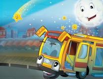 Il bus felice del fronte nella città Fotografie Stock Libere da Diritti