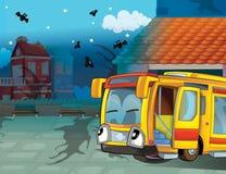 Il bus felice del fronte nella città Fotografia Stock