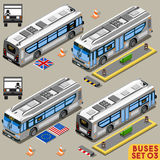 Il bus ha messo il veicolo 03 isometrico Fotografia Stock Libera da Diritti
