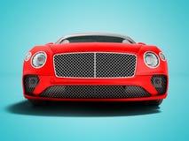 Il Business class rosso moderno della berlina dell'automobile per il viaggio su lavoro anteriore 3d rende su fondo blu con ombra illustrazione vettoriale