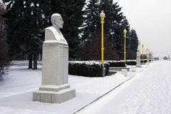 Il busto di Micurin sul quadrato dell'università a Mosca Fotografia Stock