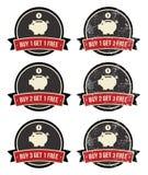 Il Buy 1 ottiene distintivi liberi del 1 i retro grunge impostati Fotografie Stock Libere da Diritti