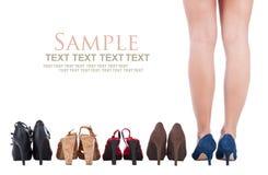 Il buy della donna calza il concetto fotografia stock