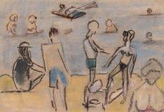 Sur une plage Illustration Libre de Droits