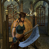 Il cacciatore con il Battleaxe Fotografia Stock