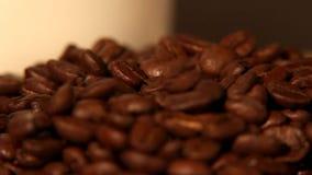 Il caffè Bean Tracking Shot - chicchi di caffè di caduta - ha preparato di recente il caffè con gli interi chicchi di caffè archivi video