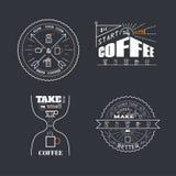 Il caffè cita lo stile del distintivo dell'iscrizione Immagini Stock Libere da Diritti
