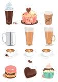 Il caffè ed i dolci hanno impostato Immagini Stock Libere da Diritti