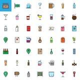 Il caffè, le bevande della barra e le bevande hanno riempito le icone del profilo messe Fotografia Stock