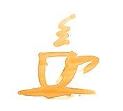 Il caffè macchia la forma della tazza  Fotografia Stock