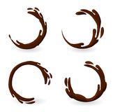 Il caffè o il cioccolato caldo brunastro spruzza l'insieme Immagine Stock Libera da Diritti