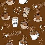 Il caffè scarabocchia il modello senza cuciture Immagine Stock Libera da Diritti