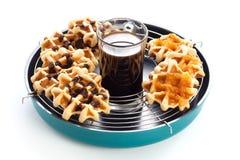 Il caffè waffles prima colazione di mattina del ribes Fotografia Stock Libera da Diritti