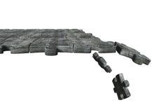 Il calcestruzzo imbarazza la terra con alcuni pezzi che cadono, rappresentazione 3D Fotografia Stock