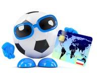 il calcio 3d usa una carta di debito Fotografie Stock Libere da Diritti
