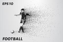 Il calcio delle particelle porta dentro il vento Siluetta di un giocatore di football americano dai cerchi Illustrazione di vetto Fotografie Stock Libere da Diritti