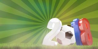 Il calcio di calcio Russia 2018 3d rende il fondo Immagine Stock