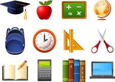 Il calcolatore di forbici dell'orologio dello zaino del globo degli elementi della scuola di istruzione prenota il taccuino illustrazione di stock