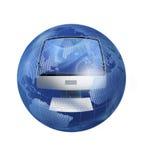 Il calcolatore nel globo illustrazione vettoriale