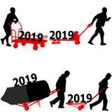 Il calendario alla moda con il lavoratore duro della siluetta che spinge la carriola e porta la grande scatola per 2019 illustrazione vettoriale
