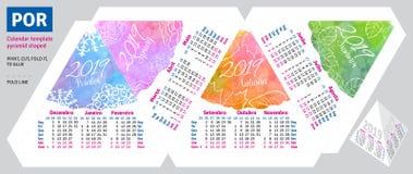 Il calendario brasiliano portoghese 2019 del modello dalla piramide di stagioni ha modellato royalty illustrazione gratis