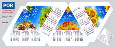 Il calendario brasiliano portoghese 2019 del modello dalla piramide di stagioni ha modellato illustrazione vettoriale