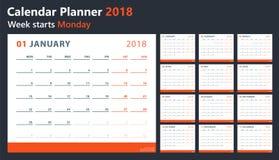 Il calendario 2018 comincia lunedì, progettazione del calendario di vettore 2018 anni Immagine Stock