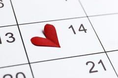 Il calendario con la data del 14 febbraio immagini stock