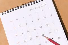 Il calendario da 2017 nuovi anni Immagine Stock
