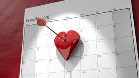 il calendario del giorno del ` s del biglietto di S. Valentino 3D con la freccia ha appuntato il cuore Immagine Stock Libera da Diritti