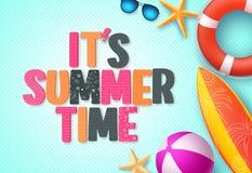 Il calibre de bannière de fond d'heure d'été du ` s avec le texte coloré de l'été 3D illustration libre de droits