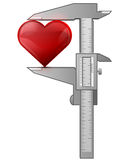 Il calibro misura il cuore Immagine Stock