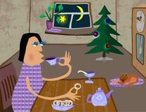 Il calore e la comodità della vostra casa al Natale ed al nuovo anno illustrazione di stock