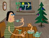 Il calore e la comodità della vostra casa al Natale ed al nuovo anno illustrazione vettoriale