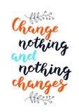 Il cambiamento disegnato a mano niente e niente cambia il fondo del manifesto dell'iscrizione di tipografia immagine stock libera da diritti