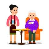 Il cameriere ha portato il caffè bevente dell'uomo anziano del bicchiere d'acqua Grandfath illustrazione vettoriale