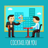 Il cameriere ha portato il cocktail alla tavola dell'ospite in illustrazione vettoriale