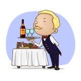Il cameriere serve il vino Fotografie Stock
