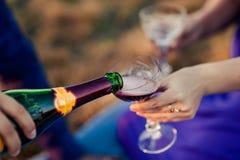 Il cameriere versa il champagne in di cristallo immagini stock libere da diritti