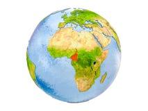Il Camerun sul globo isolato Fotografie Stock