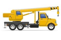 Il camion del carico con la gru per le merci di sollevamento vector l'illustrazione Immagine Stock