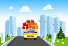Il camion di consegna di vettore distribuisce le merci royalty illustrazione gratis