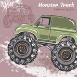 Il camion di mostro sui precedenti di sport con spruzza e schizzo Retro illustrazione di vettore Sport estremi avventura illustrazione di stock