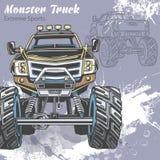 Il camion di mostro sui precedenti di sport con spruzza e schizzo Retro illustrazione di vettore Sport estremi avventura royalty illustrazione gratis
