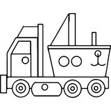 Il camion scherza le figure geometriche che colorano la pagina Immagini Stock