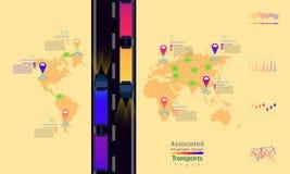 Il camion trasporta la progettazione infographic della società della fabbrica di mondo della mappa del punto collegato del segno royalty illustrazione gratis