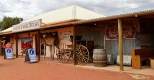 Il cammello visita la costruzione di informazione turistica Immagine Stock Libera da Diritti