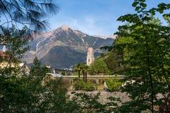 il campanile della cattedrale di San Nicola in Merano, Bolzano, Tirolo del sud, Italia Immagini Stock