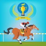 Il campione della guida del cavallo da corsa, illustrazione di vettore Immagini Stock