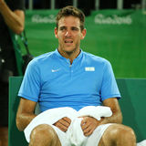 Il campione Juan Martin Del Porto del Grande Slam dell'Argentina dopo la vittoria al ` s degli uomini sceglie il quarto di finale Fotografia Stock Libera da Diritti